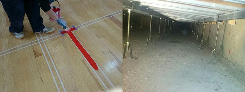 赤いラインと床下地
