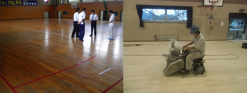 体育館床メンテナンスの打ち合わせと研磨塗装