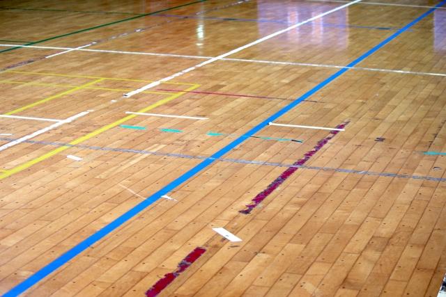 体育館の床の状態