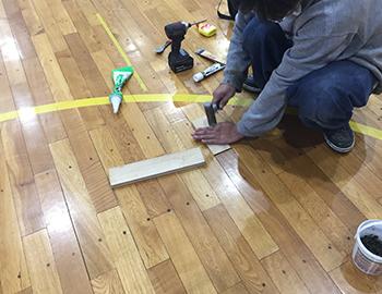 体育館フローリング貼り工事